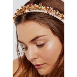 Free People x Gem3 Jewel Velvet Headband Ivory NWT
